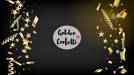 Modern Magic Glitter Confetti, Golden Foil Tinsel Trail. Cool Rich VIP Christmas, New Year, Birthday Party Holiday Pattern. Horizontal Shiny Particles Background. Magic Glitter Confetti Tinsel Illusztráció
