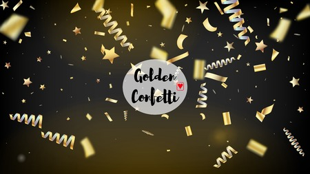 Modern Magic Glitter Confetti, Golden Foil Tinsel Trail. Horizontal Dotted Shimmer Background. Cool Luxury Christmas, New Year, Birthday Party Holiday Pattern. Magic Glitter Confetti Tinsel Illustration