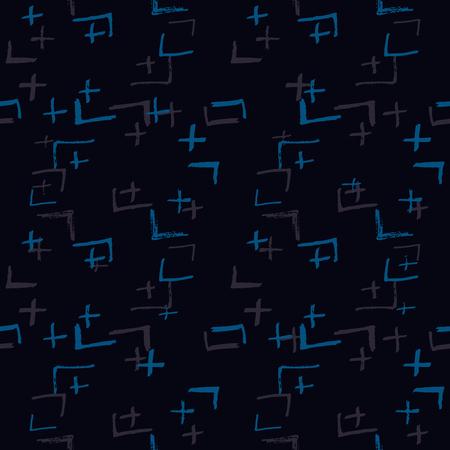 Tie Dye Japanese Geometric Organic Seamless Pattern. Boho Tie Dye Folk Batik. Geo Wabi Sabi Minimalist Kimono Print. Scribble Cartoon Doodle Craft Texture. Scribble Craft Doodle Seamless Collage 向量圖像