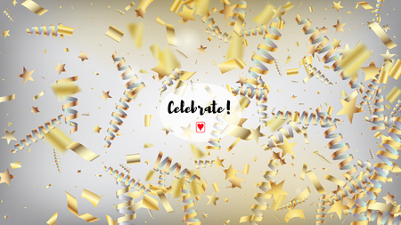 Modern New Year Confetti Realistic Falling Golden Tinsel.  Horizontal Stars Stardust Background. Cool Sparkling Christmas, New Year, Birthday Party Holiday Garland. New Year Confetti Golden Tinsel 向量圖像