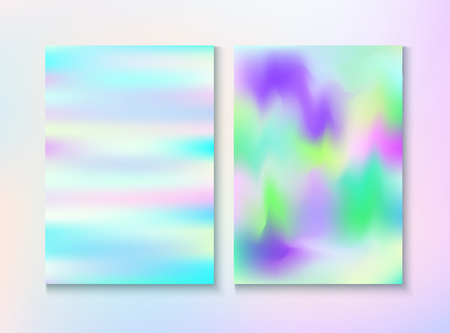 Modern Glitch Rainbow Music Party Vector Poster Set. Holographic Gradient Overlay. Laser Certificate. Fairy Light Pearl Cover, Blank Paper, Teal. Energy Rainbow Party Glitch Background.