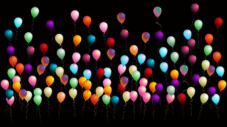 Cool Realistic Balloons, Colorful Vector Illustration. Creative Congratulations, Celebration, New Year, Birthday Party Poster, Banner Background. Flying or Falling Realistic Balloons Isolated on Black Illustration