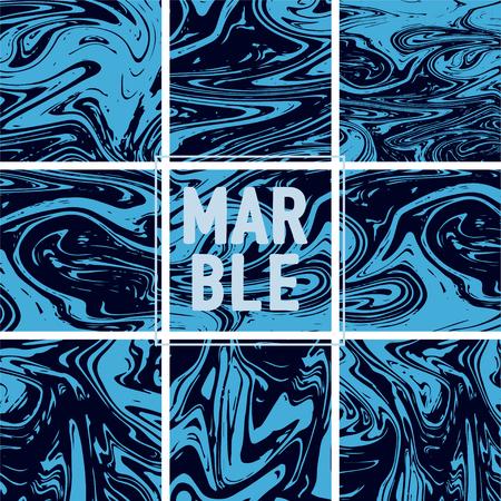 Marble Texture Set. Indigo Blue, Grey, Black Ink Wash Pattern. Japanese Suminagashi Painting. Asian Background. Stone Design, Marble Texture Background Set. Retro Vintage Cool Pattern