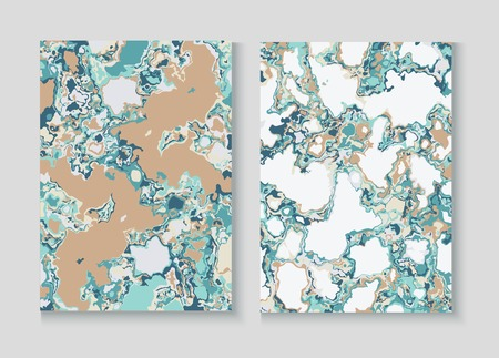Fluid Paint Marble Vector Background Set. Terrazzo Stone Textured Organic Cover. Granite, Pebble Border. Liquid Oil, Watercolor Paint, Marble Design. Cool Magazine Minimal Cover Page, Fluid Design 矢量图像