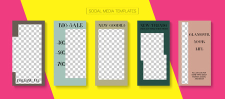 Editable Stories Hipster Vector Layout. Blogger Social Media Advertising SMM App Template. Brand Social Media Trends, New Goodies, New Arrivals Photo Frames Kit. Sale Insta Stories Layout Vettoriali