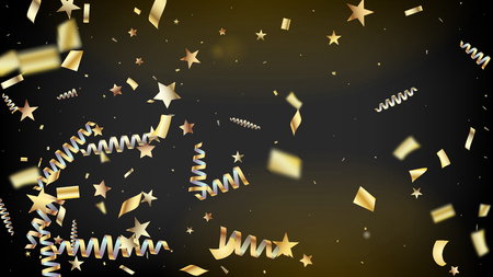 Modern Fireworks Glitter Confetti Card Background. Horizontal Dotted Glitter Background. Cool Rich VIP Christmas, New Year, Birthday Party Holiday Banner. Gold Fireworks Glitter Confetti 向量圖像