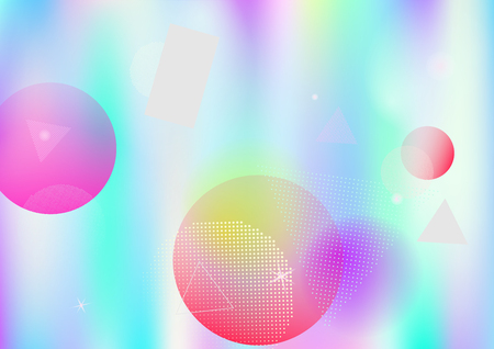 Memphis holographic vector business background. Gradient fairy-tale horizontal color overlay. Corporate identity geometric minimal holograph pattern. Chaotic bauhaus falling memphis wallpaper.