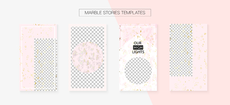 Stories Template Cool Vector Layout. Textured Advert Design Pack. Social Media Blogger Covers Set. Grunge App Kit, Pink White Gold Fashion Geometric Marble Patterns. Stories Template VIP Layout Ilustrace