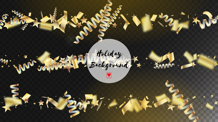 Modern Tinsel Confetti Isolated, Golden Celebration Foil. Cool Luxury Christmas, New Year, Birthday Party Holiday Frame. Horizontal Bright Shapes Background. Golden Tinsel Confetti Isolated Illusztráció
