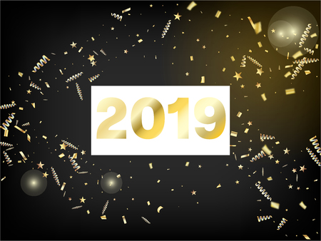 2019 Gold Confetti, Falling Stars, Streamers, Tinsel. Horizontal Stars Glitter Background. Cool Luxury Christmas, New Year, Birthday Party Holiday Pattern. Gold Confetti, Falling Down Stars.