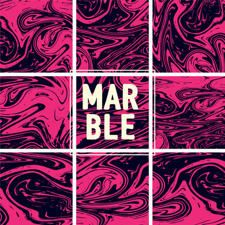Marble Texture Set. Pink Magenta, Black Ink Wash Texture. Japanese Suminagashi Painting. Asian Background. Acrylic Design, Marble Texture Background Set. Amazing Futuristic Pattern