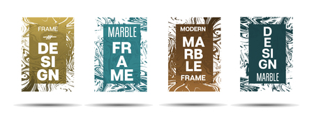 Liquid Marble Frame.  Vector Painted Hipster Border for Sale Ads, Text. Marble Textured Minimal Cover, Business Card, Music Poster Design Dynamic Futuristic Creative Neon Paints Banner.