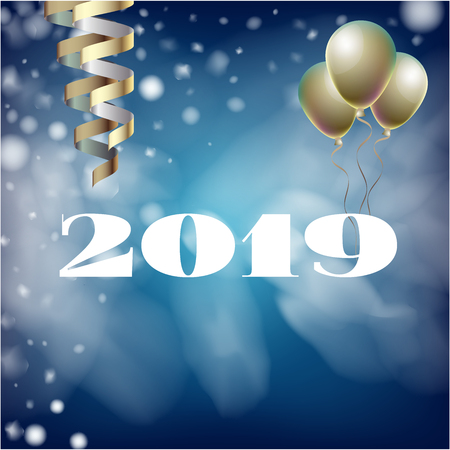 2019 New Year, Christmas Vector Card with Snow on Blue. Snowflakes, Sparkles Gold Square Celebration Gift Voucher Background. Holiday Decoration Template. Nice 2019 New Year Christmas Blue Card Illustration