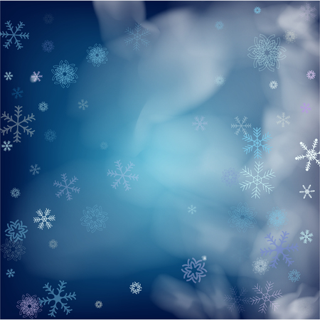 Realistic Snowfall Vector on Blue. Holidays Background, Christmas, New Year Flyer. Realistic Vector Snowfall, Flying, Falling Snowflakes. Winter Dots, Storm Sky, Frost Effect Silver Ice Square Frame. Çizim