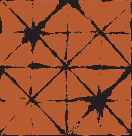 Japanese Kimono Vector Seamless Pattern, Artistic Tie Dye Geisha Ornament. Wabi Sabi Ikat Geo Texture, Asian Kimono Fashion Watercolour Batik Prints. Children Shibori Geometric Seamless Summer Pattern Illustration