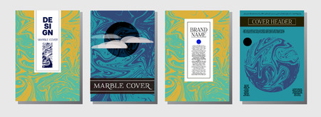 Artistic Cover Design. Cool Marble Texture Set. Futuristic Oil Paint Blue, Green, Yellow, Purple, Orange, Red Business Templates. Artistic Cover Design, Suminagashi Background, Marble Texture.