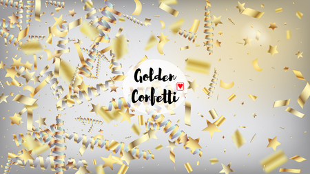 Modern New Year Confetti Realistic Falling Golden Tinsel.  Cool Glamour Christmas, New Year, Birthday Party Holiday Scatter. Horizontal Magic Bokeh Background. New Year Confetti Golden Tinsel