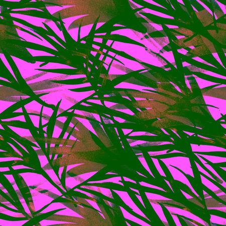 Floral Tropical Seamless Summer Pattern. Aquarelle Bohemian Botanical Background Fluid Jungle Palm Leaves Texture. Exotic Fashion Fabric Textile Design. Boho Vintage Tropical Seamless Summer Pattern. Standard-Bild - 123730684