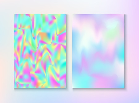 Vintage Hologram 80, 90 Retro Party Vector Poster. Trendy Iridescent Cover, Blank Paper, Teal. Holograph Gradient Overlay. Fractal Wallpaper. 80s Vintage Hologram Retro Background.