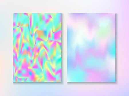 Vintage Hologram 80, 90 Retro Party Vector Poster. Trendy Iridescent Cover, Blank Paper, Teal. Holograph Gradient Overlay. Fractal Wallpaper. 80s Vintage Hologram Retro Background.