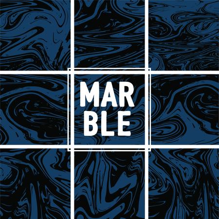 Marble Texture Set. Indigo Blue, Grey, Black Ink Wash Pattern. Japanese Suminagashi Painting. Asian Background. Stone Design, Marble Texture Background Set. Glamour VIP Elegant Pattern
