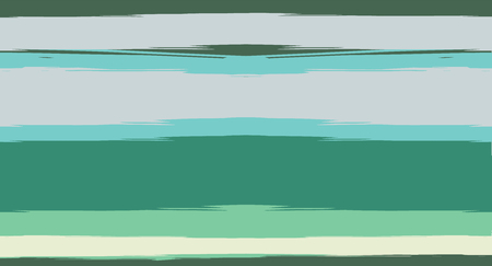 Green, Turquoise Vector Watercolor Sailor Stripes Funky Seamless Summer Pattern. Horizontal Brushstrokes Retro Vintage Grunge Fabric Fashion Design. Hand Painted Ink Lines, Male or Female Clothing Ilustração