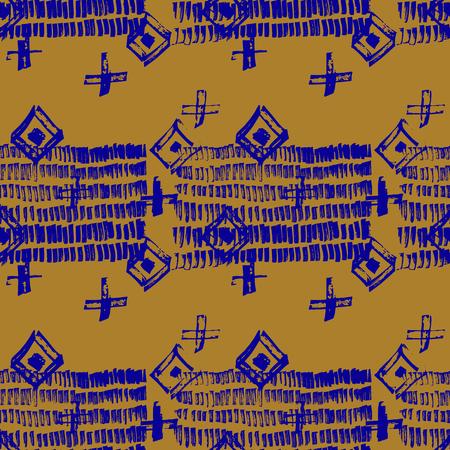 Tie Dye Japanese Geometric Artistic Seamless Pattern. Geo Wabi Sabi Minimalist Kimono Print. Scribble Cartoon Doodle Craft Texture. Boho Tie Dye Vector Batik. Scribble Craft Doodle Seamless Collage Ilustração