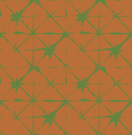 Traditional Japan Tie Dye Ornament Organic Kimono Vector Seamless Pattern. Wabi Sabi Ikat Geo Texture, Asian Kimono Fashion Watercolor Batik Design. Hand Painted Shibori Geometric Seamless Background