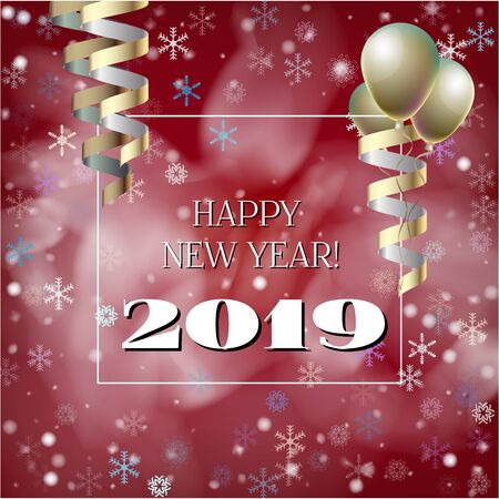2019 New Year, Christmas Vector Card with Snow on Red. Snowflakes, Sparkles Gold Abstract Square Flyer Celebration Background. Holiday Streamers Foil Deco. 2019 New Year Christmas Grunge Red Card