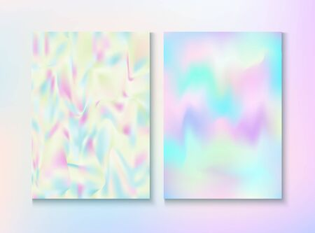 Modern Glitch Rainbow Music Party Vector Poster Set. Girlie Wallpaper. Unicorn Iridescent Cover, Blank Paper, Teal. Hologram Gradient Overlay. Energy Rainbow Party Glitch Background. Illustration