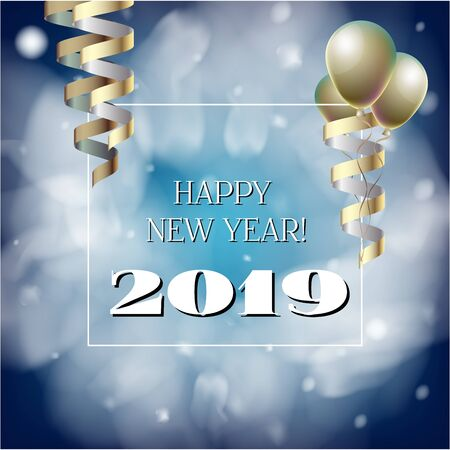 2019 New Year, Christmas Vector Card on Blue with Snow. Snowflakes, Sparkles Gold Abstract Square Flyer Celebration Background. Holiday Streamers Foil Deco. Nice 2019 New Year Christmas Blue Card Illustration