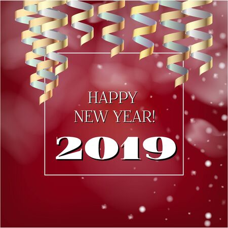 2019 New Year, Christmas Vector Card on Red with Snow. Snowflakes Sparkle Gold Abstract Square Flyer Minimal Celebration Border. Holiday Streamers Foil Deco. Funky 2019 New Year Christmas Red Card