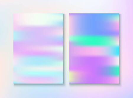 Blurred Invitation, Corporate Identity Vector Texture Set. Chrome Template. Trendy Pearlescent Cover, Blank Paper, Teal. Hologram Gradient Overlay. Invitation, Corporate Identity Background.
