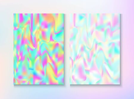 Cosmic Foil, Metal Cover, Vector Magazine Texture. Fairy Vivid Neon Cover, Blank Paper, Teal. Hologram Gradient Overlay. Chrome Illustration. Foil, Metal Magazine Cover Background.