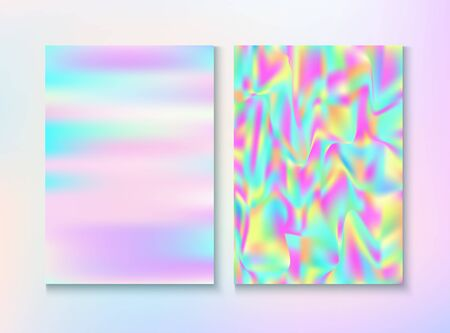 Modern Glitch Rainbow Music Party Vector Poster Set. Fractal Template. Fairy Pearlescent Cover, Blank Paper, Teal. Hologram Gradient Overlay. Energy Rainbow Party Glitch Background. Illustration