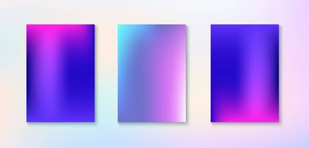 Purple, Pink, Turquoise, Blue Gradient Shiny Vector Background. Dreamy Neon Bright Trendy Wallpaper. Funky Vertical Screen Size Gradient Set. Fluorescent Gradient Overlay Vibrant Unfocused Cover.