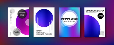 Purple, Pink, Turquoise, Blue Gradient Shiny Vector Background. Fluid Neon Bright Trendy Wallpaper. Iridescent Gradient Overlay Vibrant Defocused Cover.  Funky Covers Set, Print A4 Report Layout. Иллюстрация