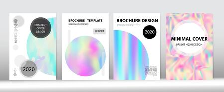 Holographic Gradient Vector Background. Fluid Holo Bright Trendy Layout. Rainbow Magazine Print Template. Hologram Minimal Light Covers Set. Fluorescent Gradient Overlay Holograph Defocused Cover.