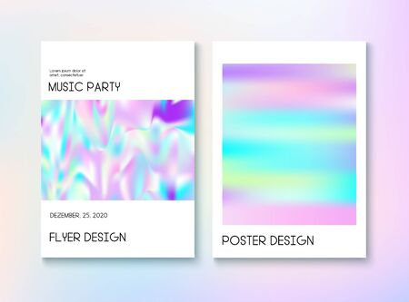Holograph Minimal A4 Magazine, Cover Set. Neon Paper Overlay, 80s, 90s Music Flyer. Pearl Pastel Hologram Cover. Iridescent Holographic Fluid Glam Vertical Wallpaper Unfocused Foil Holo Teal. Иллюстрация