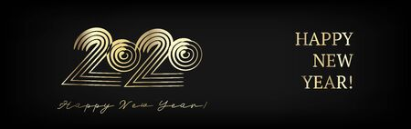 2020 Gold VIP Horizontal Wide Vector Banner. New Year, Christmas Music Party Ornament. Stained Teal Hand Painted Brush Stroke Winter Celebration Design. 2020 Noble New Year Ad Flyer Design Vettoriali