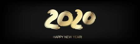 2020 Gold VIP Horizontal Wide Vector Banner. Grunge Shape New Year, Christmas Music Party Decoration. Hand Painted Brush Stroke Winter Celebration Layout. 2020 Noble New Year Ad Flyer Design