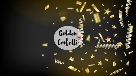Modern Luxury Confetti, Isolated Stars, Tinsel Falling. Cool Elegant Christmas, New Year, Birthday Party Holiday Frame. Horizontal Dotted Night Sky Background. Luxury Confetti, Isolated Gold Vettoriali