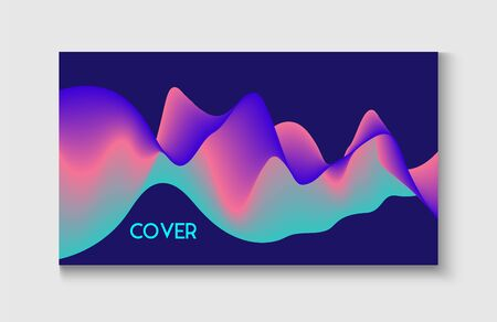 Bright Blue, Pink, Purple, Turquoise Fluid Horizontal Banner. Motion Liquid Design. Abstract Music Cover, Equalizer Motion, Liquid Wavy Flyer. Wavy Gradient Vector Background. Trendy Music Sound Wave.