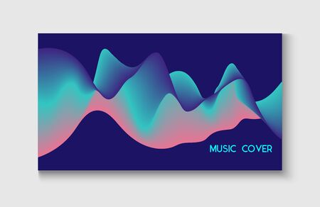 Wavy Gradient Vector Background. Motion Liquid Design. Funky Music Sound Wave. Bright Blue, Pink, Purple, Turquoise Fluid Horizontal Banner. Abstract Music Cover, Equalizer Motion, Liquid Wavy Flyer.