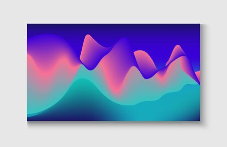 Abstract Music Cover, Equalizer Motion, Liquid Wavy Flyer. Wavy Gradient Vector Background. Modern Music Sound Wave. Bright Blue, Pink, Purple, Turquoise Fluid Horizontal Banner. Motion Liquid Design.