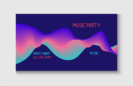 Motion Liquid Design. Wavy Gradient Vector Background. Funky Music Sound Wave. Bright Blue, Pink, Purple, Turquoise Fluid Horizontal Banner. Abstract Music Cover, Equalizer Motion, Liquid Wavy Flyer.