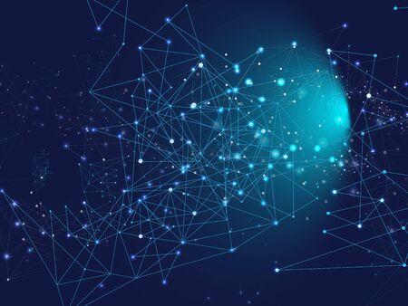 Blauer Technologieraum, Internet-Cyberspace-Datenkonzept. Galaxy Net futuristisches Design, Universum Star Sky. Verbundener Plexus-Linien-Vektor-Hintergrund. Big-Data-Informationen, Blockchain-Dreiecksknoten.
