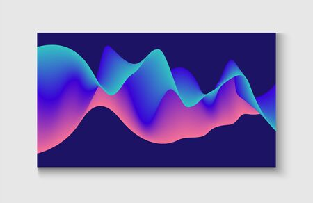 Bright Blue, Pink, Purple, Turquoise Fluid Horizontal Banner. Funky Music Sound Wave. Abstract Music Cover, Equalizer Motion, Liquid Wavy Flyer. Wavy Gradient Vector Background. Motion Liquid Design.