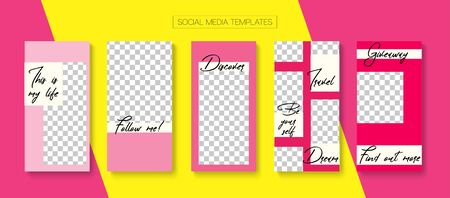 Social Stories Cool Vector Layout. Hipster Sale, New Arrivals Story Layout. Online Shop Rich VIP Graphic Brand. Blogger Tech Design, Social Media Kit Template. Social Media Stories VIP Layout