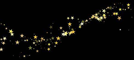 Gold Stars Vector Isolated. Festive Texture. Winter Holidays Sparkling Garland. Bright Celebration Shimmer. Golden Stars Falling Down